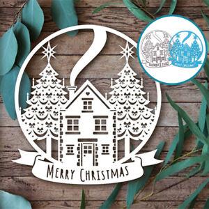 Christmas Globe Ball Tree House Metal Cutting Dies Scrapbooking Stencil Card DIY