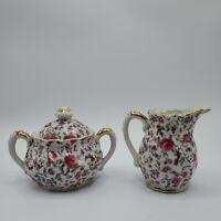 Vintage Pink Rose Chintz Ceramic Sugar & Creamer Set MADE IN JAPAN