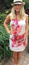 WOMENS QUEENIE PARIS WHITE SILKY SUMMER SUN BEACH  DRESS SIZE UK 10 US6 RRP £120