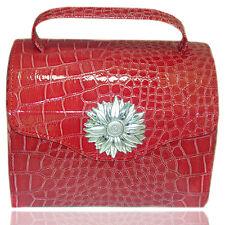 Borsa beauty portagioie in pelle rossa con margherita centrale laminata argento