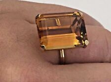 14k Yellow Gold Vintage 14 Carat Emerald Cut Citrine