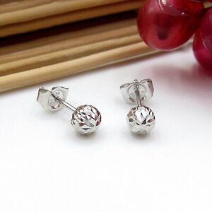 PT950 Pure Platinum 950 Stud Men Women 6mm Carved Bead Ball Bean Earrings /1.8g