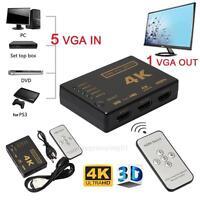 3D 5 Port 4K HDMI Switcher Switch Selector Splitter Hub iR Remote For HDTV 1080p