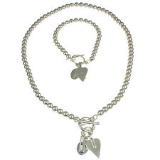 Silver colour heart charm t-bar bracelet and matching bead choker necklace