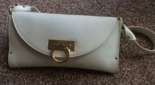 Vintage,Salvatore Ferragamo,Cream, Leather, Front Logo Closure flap, Handbag ,