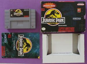 Jurassic Park (Super Nintendo, 1993) with Box & Instruction Booklet