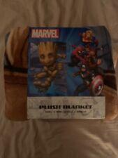 "Disney Marvel Guardians of the Galaxy Groot Plush Blanket 60 X 90"" New"