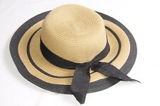 e48510032c01 Women Summertime Camel Straw Hat with Black Thick Ribbon and Lining (S335)