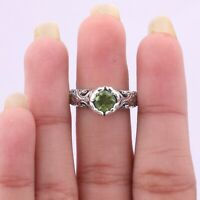 Handmade 925 Solid Sterling Silver Indian Jewelry Peridot Gemstone Ring Size 6