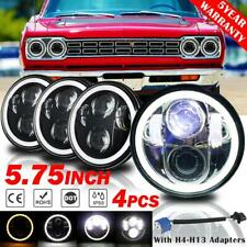 DOT 5.75 5-3/4 in Round LED Headlight 4PC Halo Hi Lo For Dodge Challenger 70-74