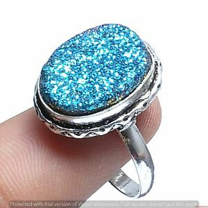 Titanium Druzy Gemstone Ring 925 Sterling Silver Plated Ring US Size 7.5R-3913