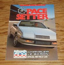 Original 1987 Chrysler LeBaron Pace Car Setter Sales Brochure 87