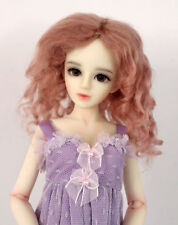 "1/4 1/6 bjd 6-7"" doll wig champagne pink curly real mohair dollfie yosd WJD039S"