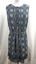 Max Studio Womens Dress XS Printed Blue White Sleeveless Dress Knee Length