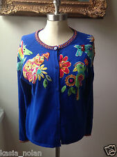 Women's Arriviste Size M Blue Cardigan Sweater Appliques Cat Parrot Turtle Dog