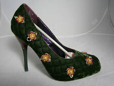 POETIC LICENCE QUILTER VELVET FABRIC SHOES SIZE 10 GREEN HIGH HEELS FLOWERS