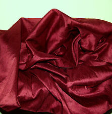 100% Natural Silk Dupioni Fabric Wine Red Blouse Drapery Luxurious By The Yard