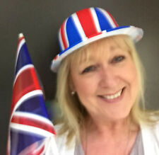 12 Union Jack Bowler Hats and 12 Union Jack Flags British Celebrations Events
