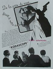 PUBLICITE KODAK PATHE CAMERA KODASCOPE DE 1932 FRENCH AD PHOTO WARNER BROS PUB