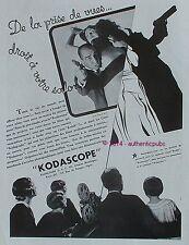 PUBLICITE KODAK PATHE CAMERA KODASCOPE DE 1932 FRENCH AD PHOTO WARNER BROS PUB