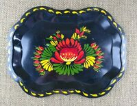 Vintage Hand Painted Floral Motif Tin Tip or Serving Tray Dated 1955