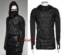 New Punk rave Rock Fashion Casual Black Gothic Long Sleeve MEN t shirt Top M XXL