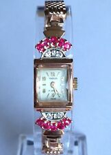 Vintage TRESSA Watch Diamond Ruby 14K Rose Gold band 17j Serviced clean&sharp