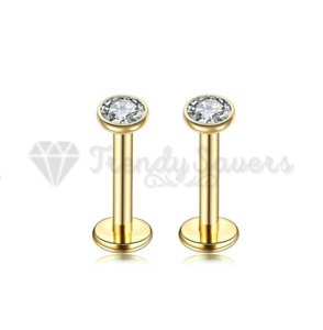 18ct Gold Plated Labret Lip Piercing Monroe Cartilage Helix Tiny Stud Rings 3MM