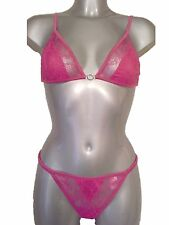 New Hot Pink Bra & Thong 32C 10 Soft lace cups with diamante detail sexy sheer