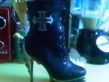 The Highest Heel Collection Flame-51 Size 11 BLACK WITH BLING CROSS 11 M