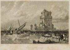 E. FINDEN (*1791), Der Torre de Belém, Lissabon, 19. Jhd., Stahlst.