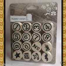 Number Stamps - Wood Mounted Rubber Stamp [1 set = 16 pieces of rubber stamps]