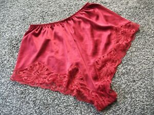 VINTAGE RED THICKER NYLON SATIN FRENCH KNICKERS SIZE 12 CHARNOS