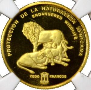 EQUATORIAL GUINEA 7000 Francos 1992 Gold NGC PR68 'Lions' Mtg.450 Rare!