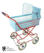 Vintage Blue & Red Corduroy Baby Carriage English Stroller Pram Buggy Retro