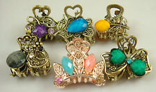 Wholesale 5pcs Crystal Bronze Metal Alloy Hair Clamp Claw Clips Hairpins Nmn1