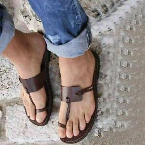Women's Slippers Flip Flops Beach Leather Sandals Leisure Toe Ring Shoes Slip On