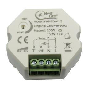 230V Universal-Tast-Dimmer Unterputz LED-Dimmer Taster 150W LED 200W Halogen