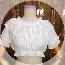 Ladies Sweet Lolita Shirt Blouse Top Chiffon Lace Puff Sleeve Frilly Short Tee
