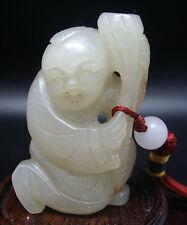 ANCIEN PENDENTIF JADE JADEITE SCULPTE ENFANT FRUIT DE LOTUS PORTE BONHEUR