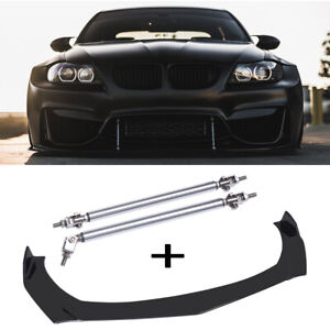 Front Bumper Lip Splitter Spoiler + Strut Rods Bar For 328i 335i E90 E60 X5