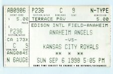 Chuck Finley win, Chris Hatcher MLB debut ticket stub; Royals at Angels 9/6/98