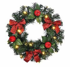LED Christmas Xmas Door Wreath 15 Warm White Lights, Apples & Red Bows Timer