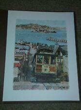Vintage Don Davey Colored Print CABLE CAR San Francisco 1968