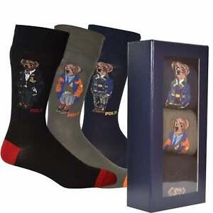 Polo Ralph Lauren 3-Pack Multi Bears Flat-Knit Socks Gift Box, Black/Khaki/Royal