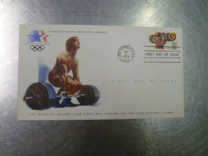 WEIGHTLIFITING COVER & STAMP LOS ANGELES POSTMARK 1984 OLYMPICS USA