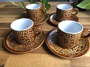 Vintage Retro Tea Cup & Saucer Set Of 4 Made In Japan