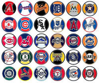 """Baseball Decal Stickers MLB Licensed  About 3"""" Round Prismatic Your Choice"""