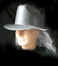 Black Cowboy Western Hat & Attached Gray Wig Adult Mens Costume Halloween