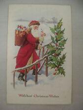 VINTAGE EMBOSSED CHRISTMAS POSTCARD SANTA DELIVERING TOYS IN SNOW UNMAILED